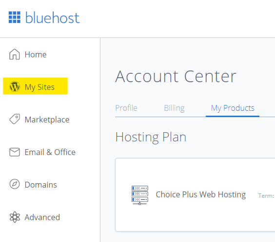 Bluehost My Sites