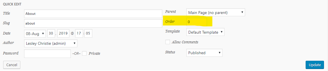 Page Order Quick Edit